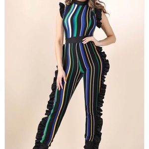 K Too   Striped Multicolored Ruffle Jumpsuit